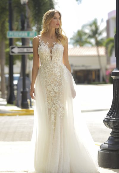 Illusion Neckline Blush Embroidered Lace Wedding Dress by Randy Fenoli