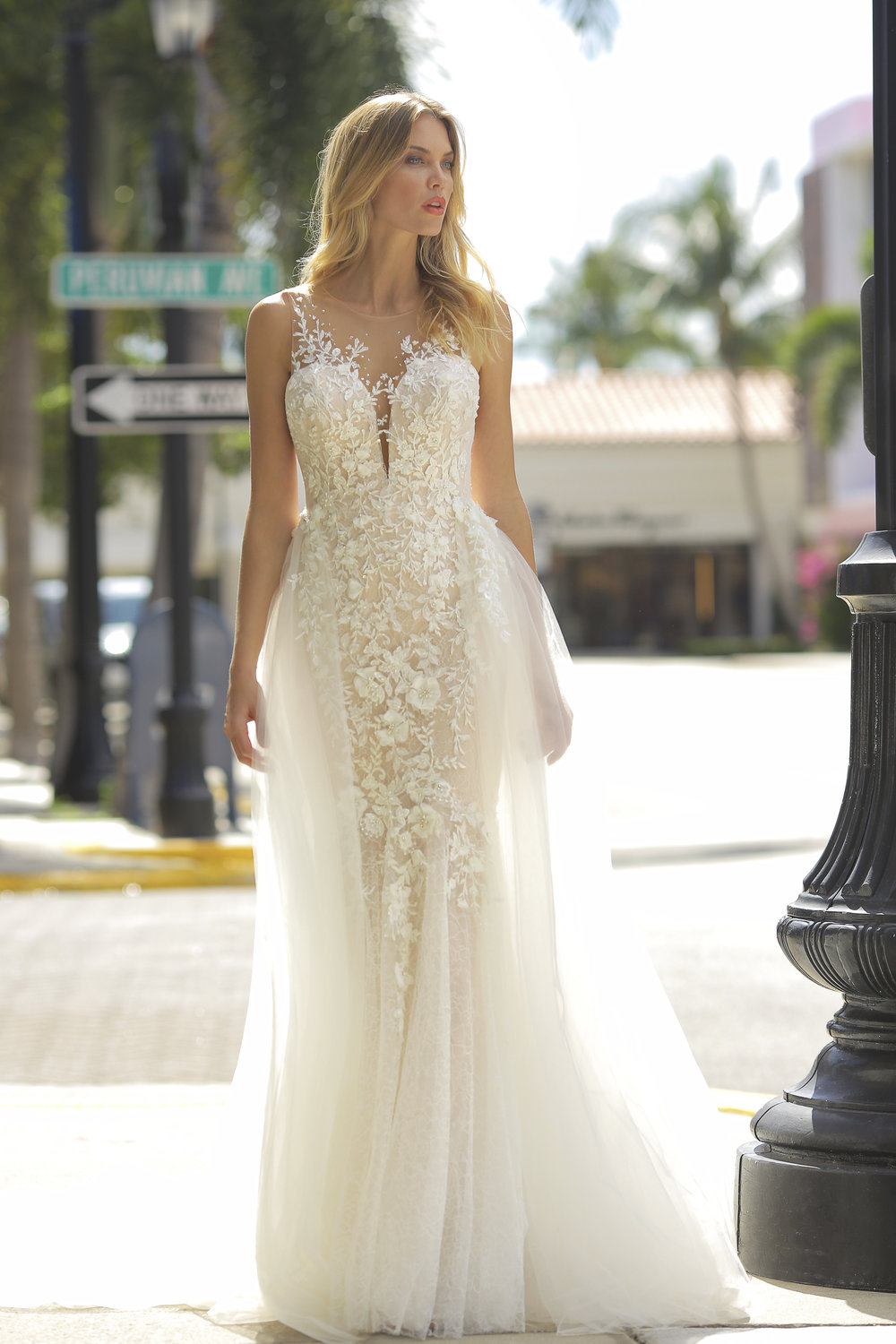 Illusion Neckline Blush Embroidered Lace Wedding Dress