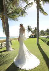Sleeveless Fit And Flare Lace Wedding Dress With Detatchable Cape by Randy Fenoli - Image 2