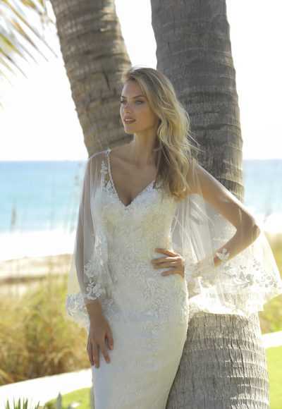 Sleeveless Fit And Flare Lace Wedding Dress With Detatchable Cape by Randy Fenoli