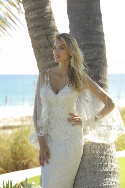 Sleeveless Fit And Flare Lace Wedding Dress With Detatchable Cape by Randy Fenoli - Image 1