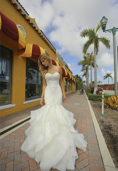 Strapless Mermaid Tiered Skirt Wedding Dress by Randy Fenoli