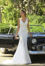 V-neck Crepe Wedding Dress by Randy Fenoli - Image 1