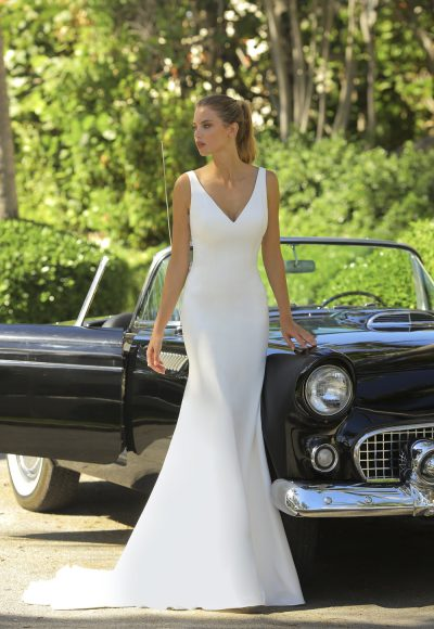 V-neck Crepe Wedding Dress by Randy Fenoli