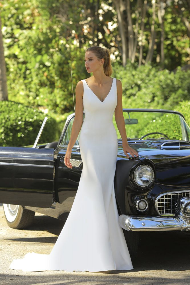 V-neck Crepe Wedding Dress by Randy Fenoli - Image 1