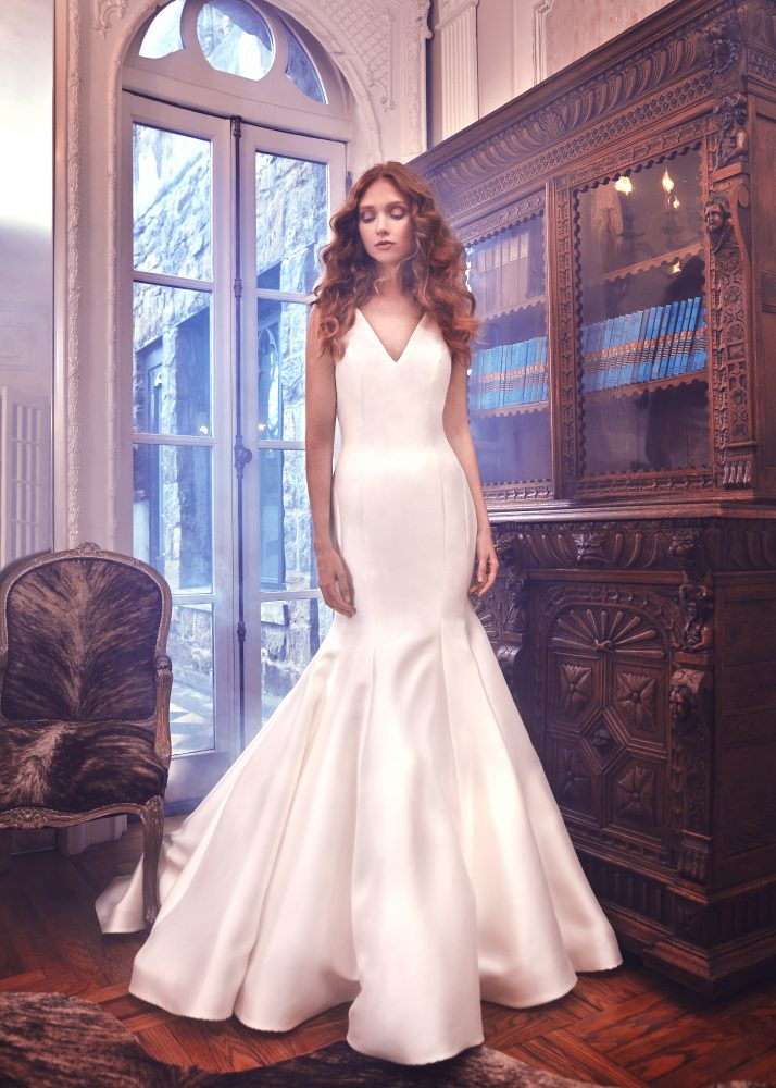 Simple Silk V-neck Wedding Dress by Sareh Nouri - Image 1