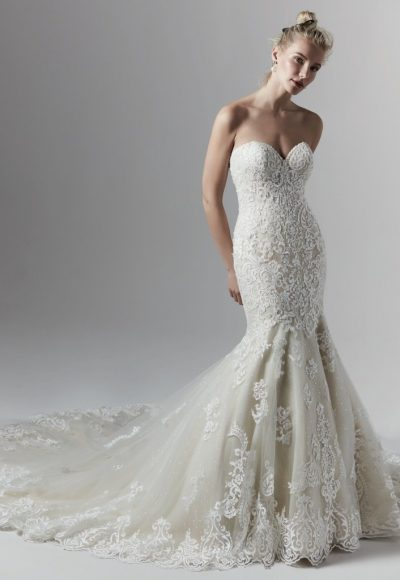 Allover Lace Beaded Strapless Sweetheart Mermaid Wedding Dress by Sottero and Midgley