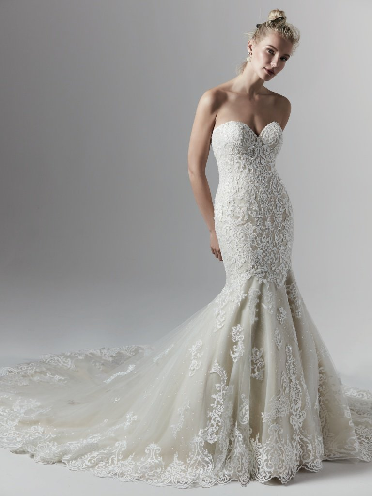 Allover Lace Beaded Strapless Sweetheart Mermaid Wedding Dress Kleinfeld Bridal