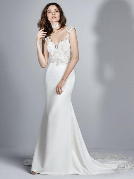Illusion Crepe Wedding Dress by Sottero and Midgley - Image 1