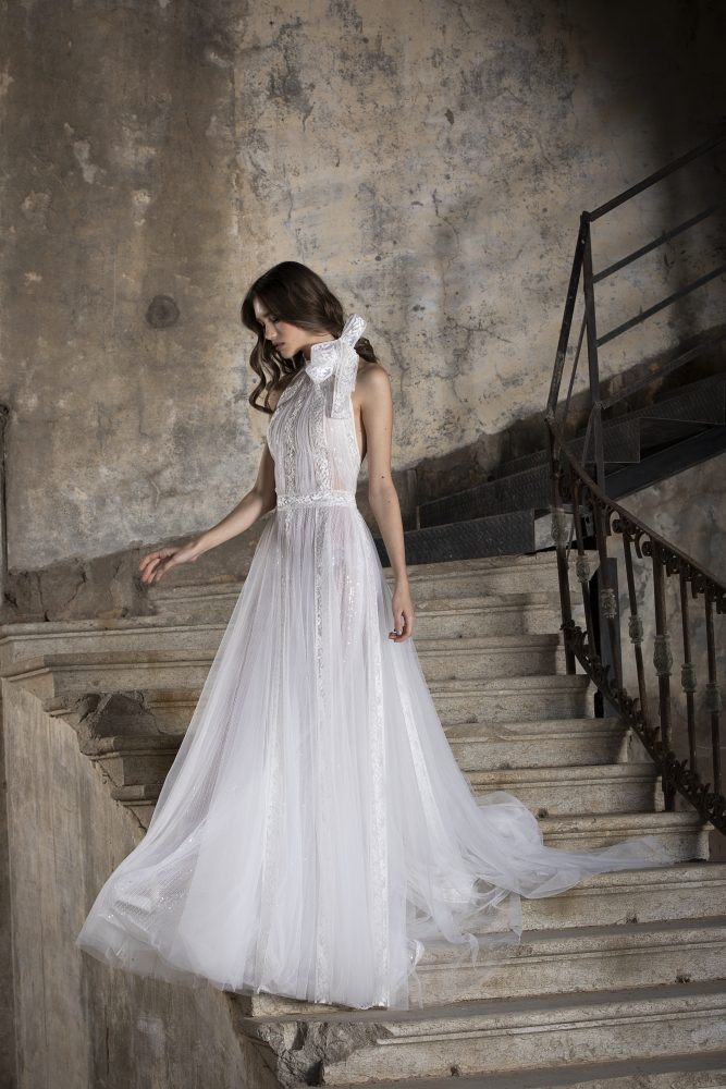 A-line Lace High Neck Wedding Dress With Bow by Tony Ward - Image 1