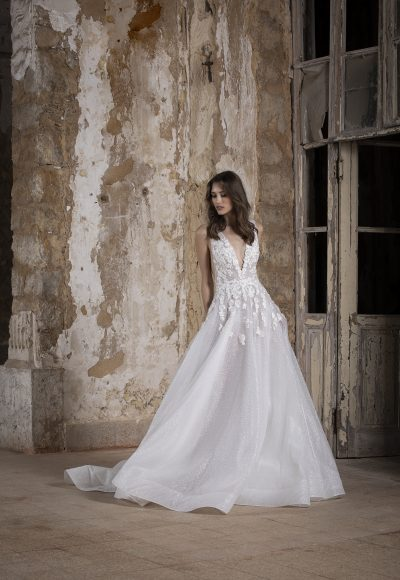 V-neck Embroidered Flower Glitter A-line Wedding Dress by Tony Ward