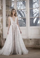 V-neck Embroidered Lace A-line Wedding Dress by Tony Ward - Image 1