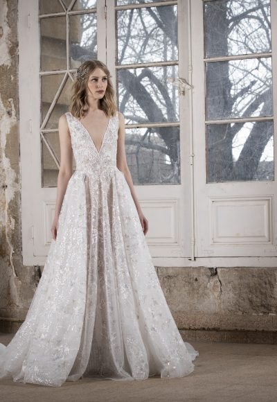 V-neck Embroidered Lace A-line Wedding Dress by Tony Ward
