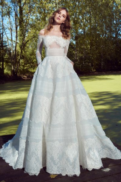 Long Sleeve Off The Shoulder Lace Embroidered Ball Gown by Zuhair Murad - Image 1