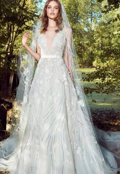 V-neck Flitter A-line Wedding Dress by Zuhair Murad