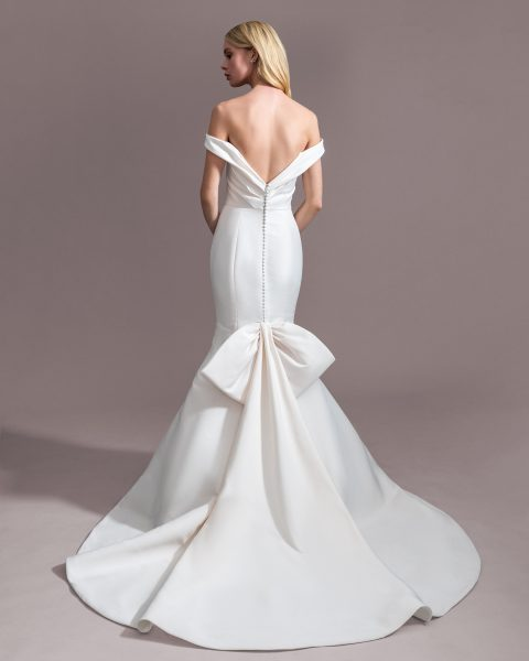 Draped Off The Shoulder Fit And Flare Wedding Dress by Allison Webb - Image 2