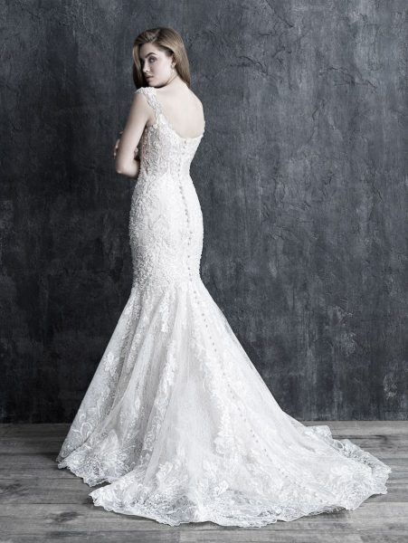 Cap Sleeve Lace Fit And Flare Wedding Dress by Allure Bridals - Image 2
