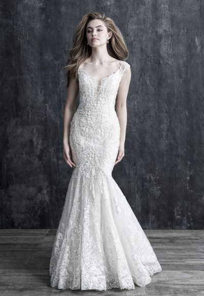 Cap Sleeve Lace Fit And Flare Wedding Dress by Allure Bridals