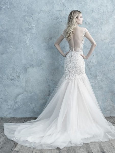 Cap Sleeve Lace V-neck Fit And Flare Wedding Dress by Allure Bridals - Image 2