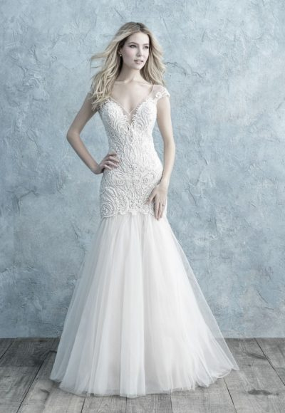 Cap Sleeve Lace V-neck Fit And Flare Wedding Dress by Allure Bridals