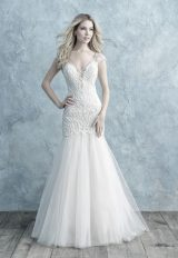 Cap Sleeve Lace V-neck Fit And Flare Wedding Dress by Allure Bridals - Image 1
