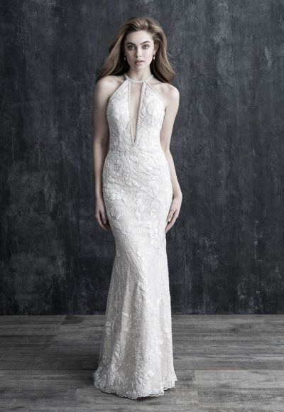 Halter Neckline Beaded Wedding Dress by Allure Bridals