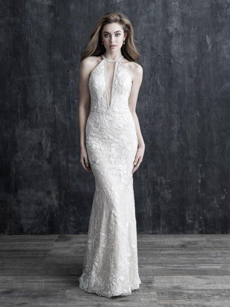 Halter Neckline Beaded Wedding Dress by Allure Bridals - Image 1