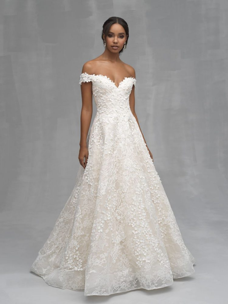 Off The Shoulder Floral Applique A-line Wedding Dress by Allure Bridals - Image 1