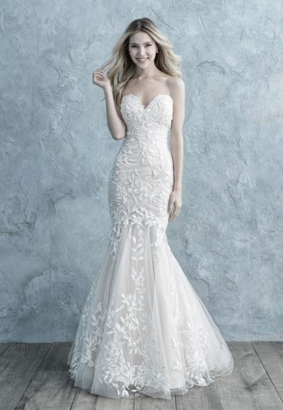 Ruched Strapless Sweetheart Fit And Flare Wedding Dress by Allure Bridals