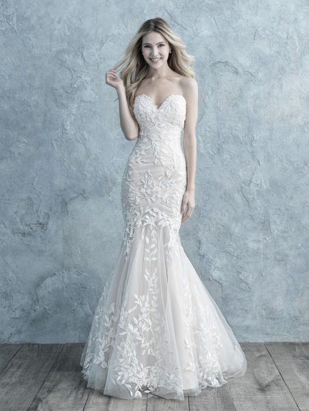 Ruched Strapless Sweetheart Fit And Flare Wedding Dress by Allure Bridals - Image 1