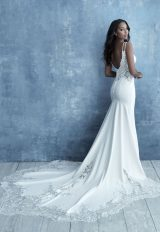Sleeveless Crepe Sheath Sheath Wedding Dress by Allure Bridals - Image 2