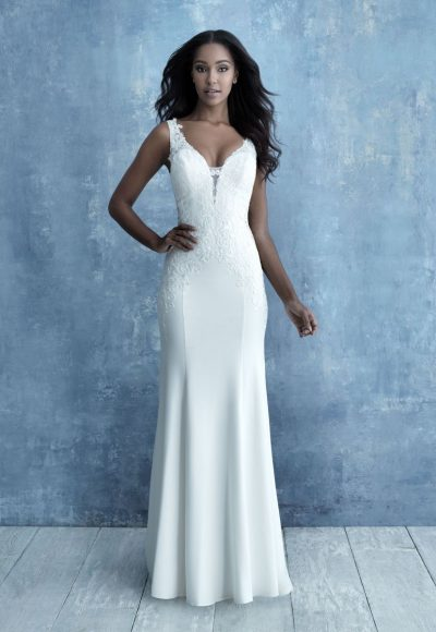 Sleeveless Crepe Sheath Sheath Wedding Dress by Allure Bridals