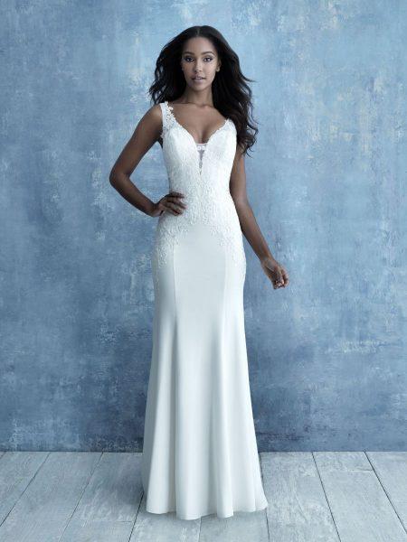 Sleeveless Crepe Sheath Sheath Wedding Dress by Allure Bridals - Image 1