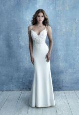 Spaghetti Strap Crepe Sheath Wedding Dress by Allure Bridals - Image 1