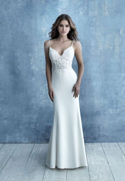 Spaghetti Strap Crepe Sheath Wedding Dress by Allure Bridals