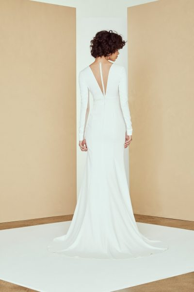 Long Sleeve V-neck Crepe Wedding Dress by Nouvelle Amsale - Image 2