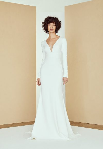 Long Sleeve V-neck Crepe Wedding Dress by Nouvelle Amsale