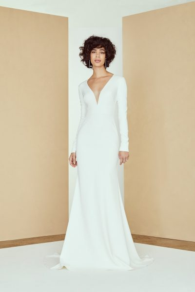 Long Sleeve V-neck Crepe Wedding Dress by Nouvelle Amsale - Image 1