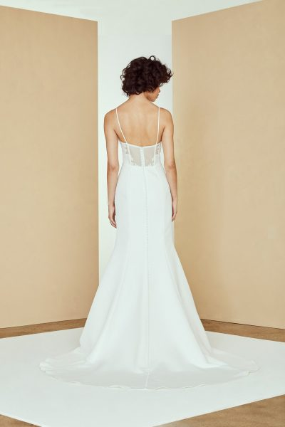Spaghetti Strap Fit And Flare Simple Wedding Dress by Amsale - Image 2