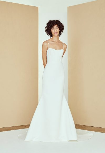 Spaghetti Strap Fit And Flare Simple Wedding Dress by Amsale
