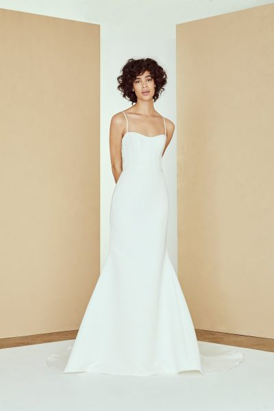 Spaghetti Strap Fit And Flare Simple Wedding Dress by Amsale - Image 1