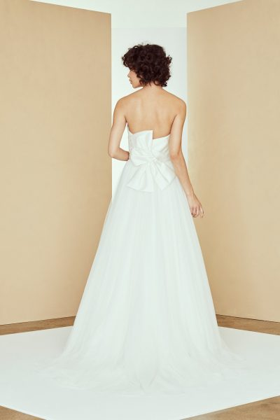 Strapless Satin Draped Ball Gown Tulle Skirt by Amsale - Image 2
