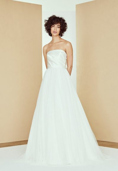 Strapless Satin Draped Ball Gown Tulle Skirt by Amsale
