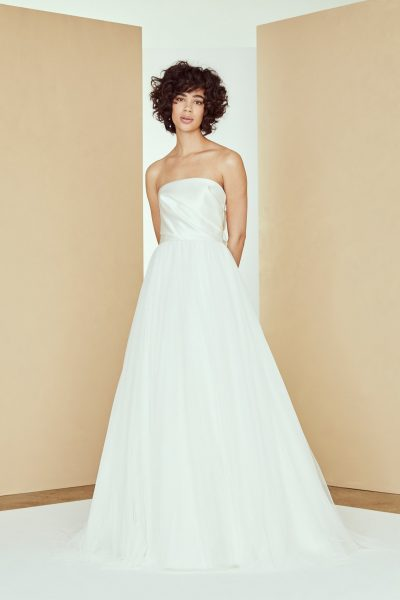 Strapless Satin Draped Ball Gown Tulle Skirt by Amsale - Image 1