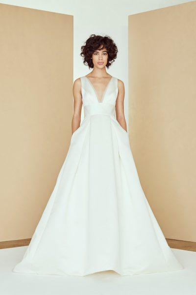 V-neck Organza Ball Gown Wedding Dress by Amsale - Image 1
