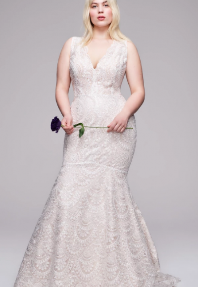All Over Beaded Sleeveless V-neckline Mermaid Wedding Dress by Anne Barge
