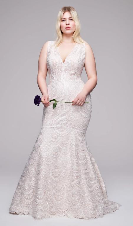 All Over Beaded Sleeveless V-neckline Mermaid Wedding Dress by Anne Barge - Image 1