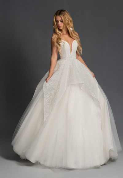 Spaghetti Strap Tiered Tulle Ball Gown Wedding Dress by BLUSH by Hayley Paige