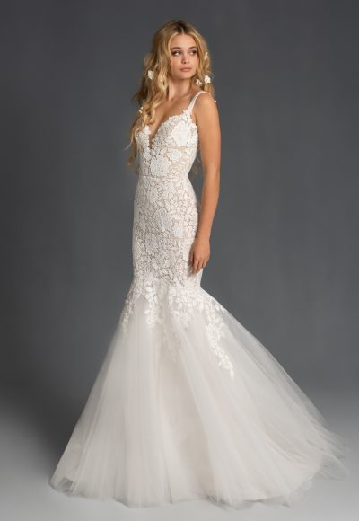Sweetheart Neckline Lace Fit And Flare Tulle Wedding Dress by BLUSH by Hayley Paige
