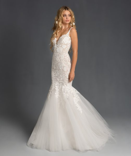 Sweetheart Neckline Lace Fit And Flare Tulle Wedding Dress by BLUSH by Hayley Paige - Image 1